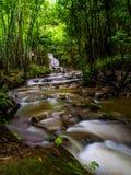 Vattenfall i den djupa skogen Arkivfoto