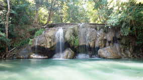 Vattenfall i den Erawan nationalparken Fotografering för Bildbyråer