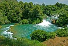 Vattenfall i den Krka nationalparken Royaltyfri Fotografi