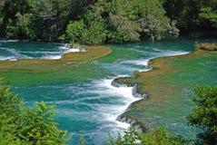 Vattenfall i den Krka nationalparken Arkivbilder