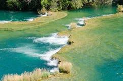 Vattenfall i den Krka nationalparken i Kroatien Arkivfoto