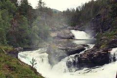 Vattenfall i den norska skogen Royaltyfri Fotografi