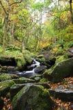 Vattenfall i den Padley klyftan, maximalt område, Derbyshire UK royaltyfri bild