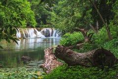 Vattenfall i den tropiska skogen, Thailand Arkivfoto