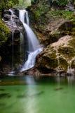 Vattenfall i den Vintgar klyftan (vintgar Blejski) som blödas, Slovenien royaltyfri bild