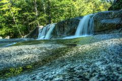 Vattenfall i den vita bergnationalparken, New Hampshire, USA Arkivbild