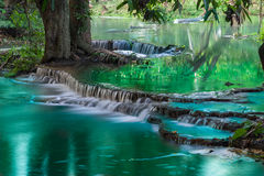 Vattenfall i djup regnskogdjungel Arkivbilder