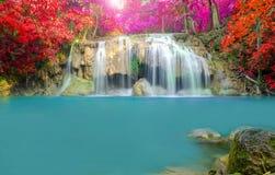 Vattenfall i djup skog på den Erawan vattenfallnationalparken Arkivfoto