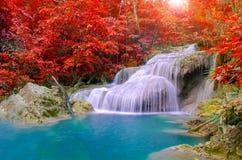 Vattenfall i djup skog på den Erawan vattenfallnationalparken, Arkivbild