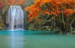 Vattenfall i djup skog på den Erawan vattenfallnationalparken Royaltyfria Foton