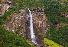 Vattenfall i Flam - Norge Royaltyfria Foton