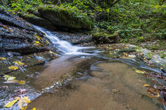 Vattenfall i Foresten Casentinesi NP i höst, Tuscany, Ital Arkivbilder