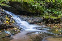 Vattenfall i Foresten Casentinesi NP i höst, Tuscany, Ital Royaltyfria Bilder