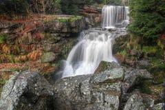 Vattenfall i höstskogen Arkivfoto