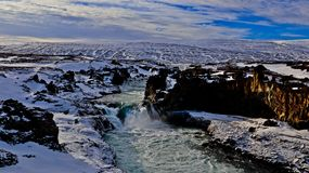Vattenfall i Island, bild av naturen royaltyfri bild