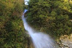 Vattenfall i Kaukasus berg, Abchazien, Georgia Royaltyfria Bilder
