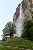 Vattenfall i Lauterbrunnen Arkivfoto
