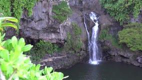 Vattenfall i Maui Hawaii arkivfilmer