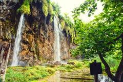 Vattenfall i nationalpark, Plitvice sjöar Tropisk vattenfall, hisnande landskap Arkivfoton