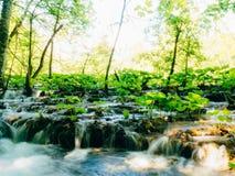 Vattenfall i nationalparkPlitvice sjöarna, Kroatien Waterfal Royaltyfri Fotografi
