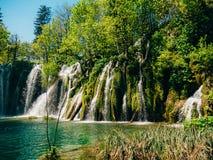 Vattenfall i nationalparkPlitvice sjöarna, Kroatien Waterfal Royaltyfri Foto