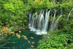 Vattenfall i Plitvice sjön Royaltyfri Foto