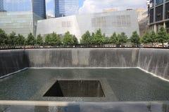 Vattenfall i September 11 Memorial Park Arkivbilder