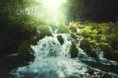 Vattenfall i skogen, Plitvice sjöar Arkivbilder