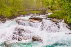 Vattenfall längs Aurlandsfjelleten Norge Fotografering för Bildbyråer