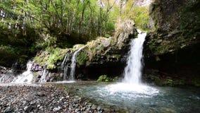 Vattenfall med höstlövverk i Fujinomiya, Japan stock video