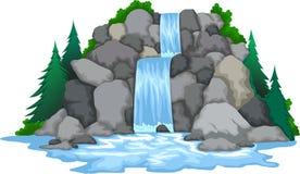 Vattenfall med landskapsiktsbakgrund Royaltyfri Fotografi