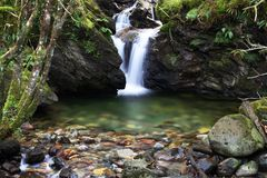 Vattenfall med splashpool Royaltyfri Fotografi