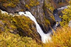 Vattenfall Norge - Eidfjord Voringfossen Royaltyfria Foton