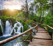 Vattenfall och bana i den Plitvice nationalparken, Kroatien Royaltyfri Foto