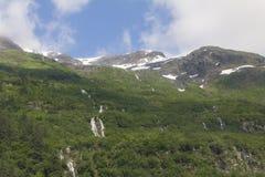 Vattenfall och bergssidagrönska i Alaska Arkivfoton