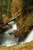 Vattenfall och bro i höstskogen, Bulgarien Arkivbild