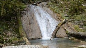 Vattenfall på bergfloden i Sochi stock video