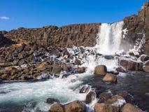 Vattenfall på den Thingvellir nationalparken Royaltyfri Fotografi