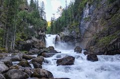 Vattenfall på floden Kadrin Sommarlandskap - ren luft av Altai royaltyfri bild