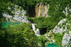 Vattenfall på Plitvice i Kroatien Fotografering för Bildbyråer