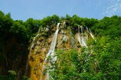 Vattenfall på Plitvice i Kroatien Arkivfoto