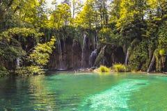 Vattenfall på Plitvice sjönationalparken arkivbild