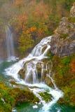Vattenfall Plitvice sjöarna på hösten Fotografering för Bildbyråer