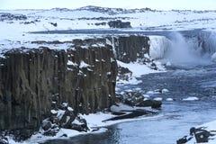 Vattenfall Selfoss i Island, vintertid Arkivfoto
