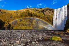 Vattenfall Skogafoss i Island Arkivbild