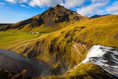 Vattenfall Skogafoss, Island Arkivbilder