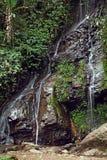Vattenfall som döljas i den tropiska djungeln royaltyfri foto