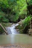 Vattenfallet är på bergfloden av det västra Kaukasuset, Rus Arkivbilder