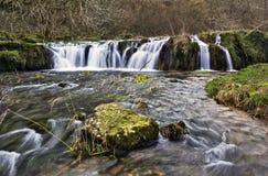 Vattenfallet över mossigt vaggar Arkivbild