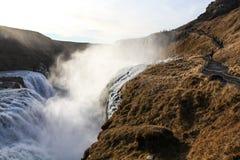 Vattenfallet Gullfoss, den guld- cirkeln turnerar, Island Royaltyfri Foto